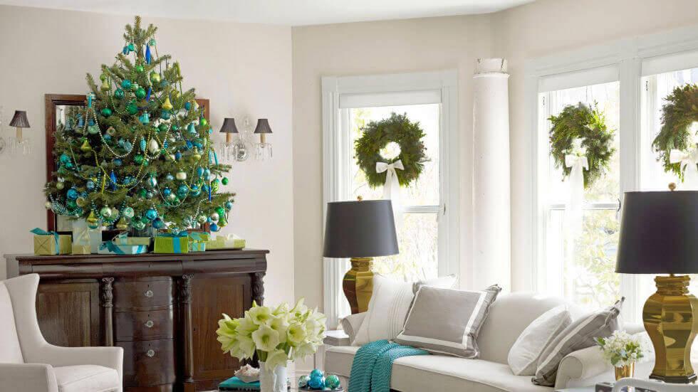 сине-зеленая рождественская елка